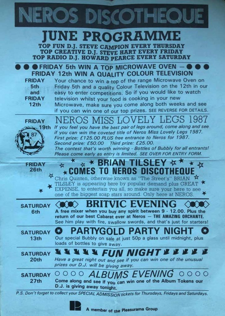 A Neros discotheque leaflet from 1987, Ramsgate, Kent