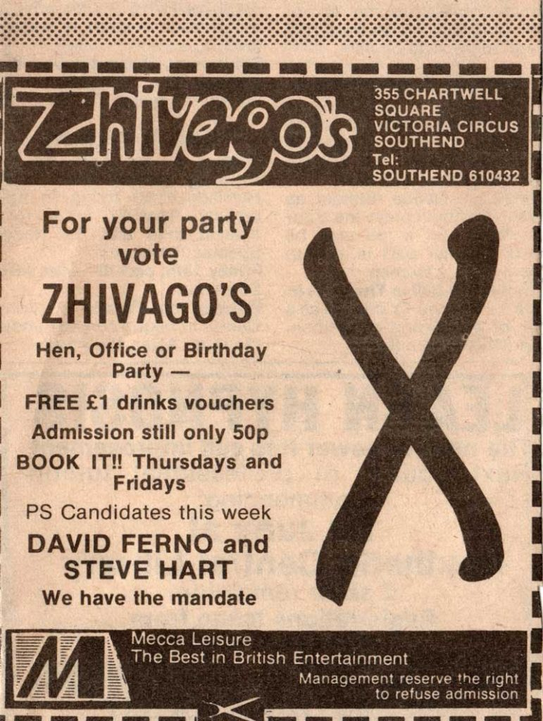 Zhivago's disco, Southend, Essex with Steve Hart and David Ferno (Furneaux).